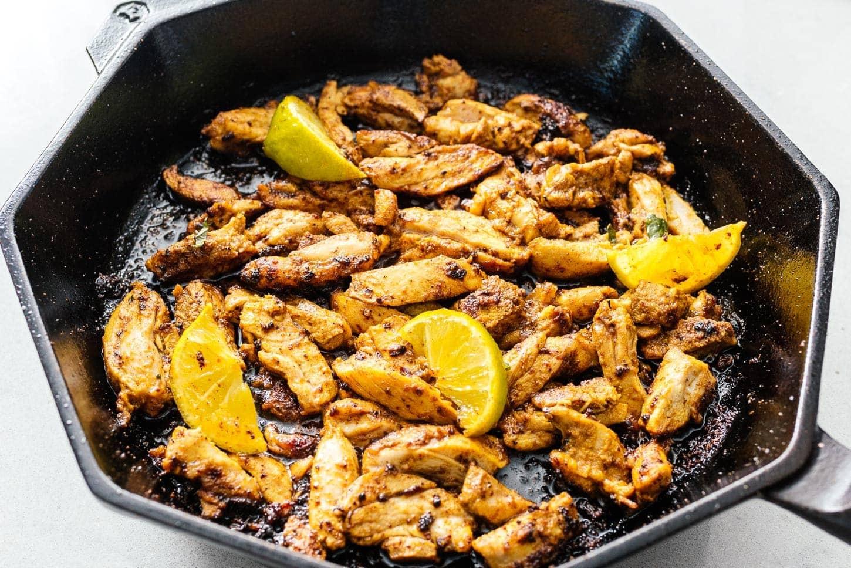 shawarma in a cast iron pan | www.iamafoodblog.com