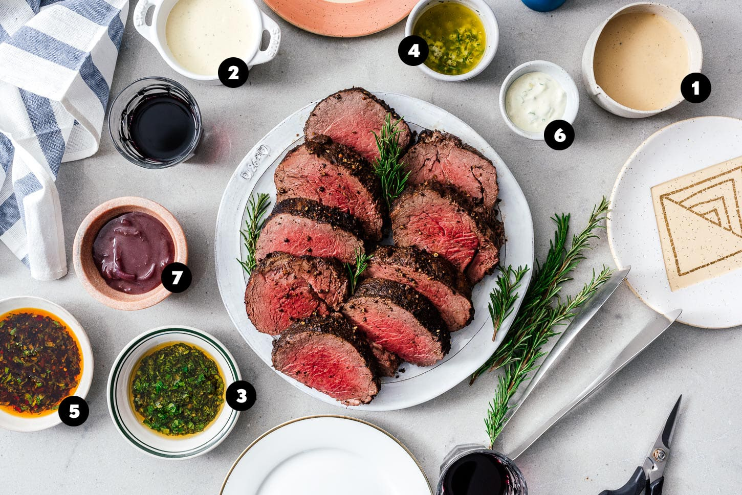beef tenderloin with many sauces | www.iamafoodblog.com