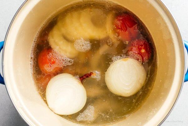 simmering bun rieu soup | www.iamafoodblog.com