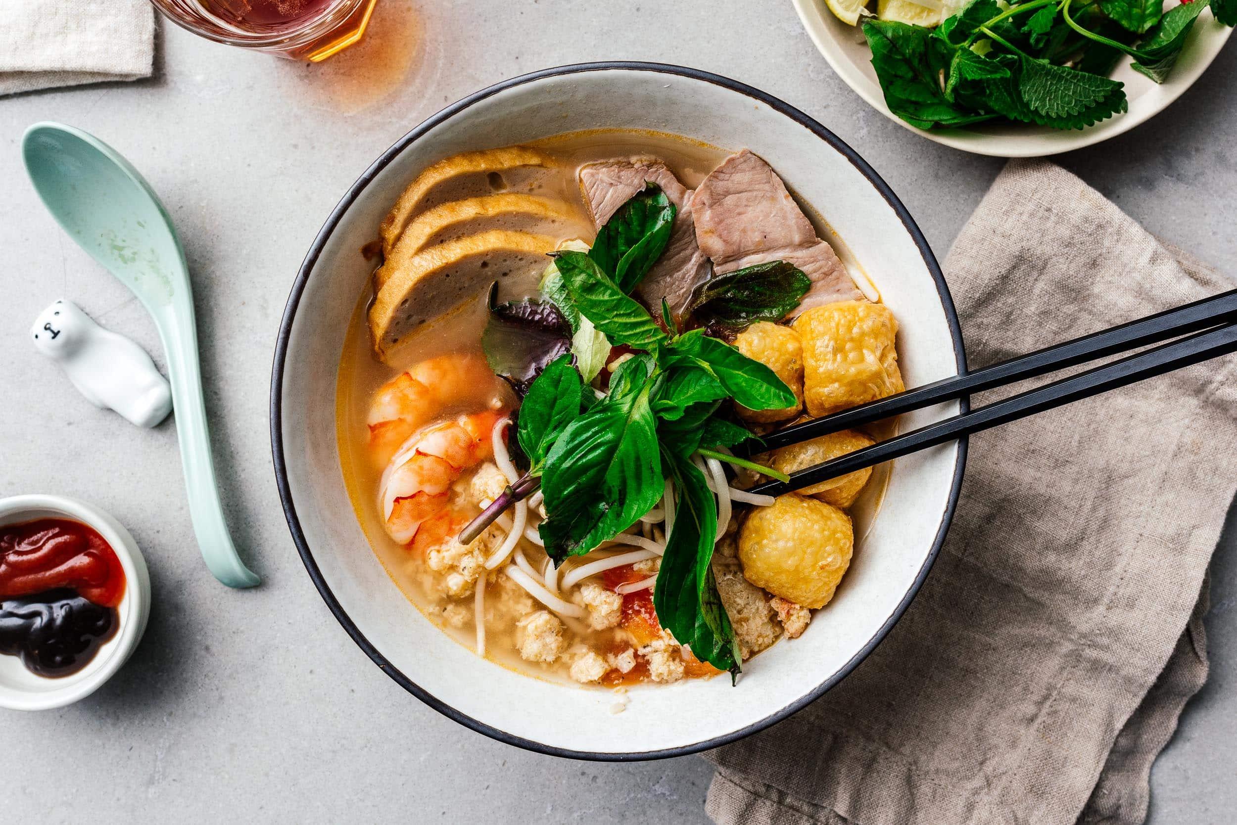 Bun Rieu: Vietnamese Tomato and Crab Noodle Soup