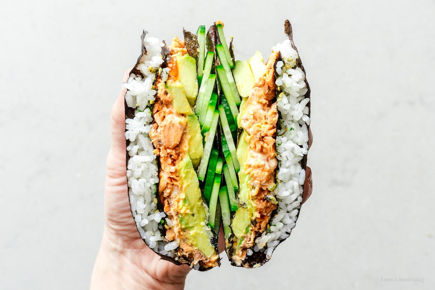 spicy salmon tiktok wrap hack sushi version | www.iamafoodblog.com