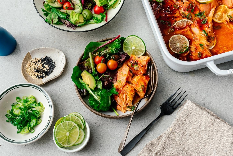 baked salmon and salad | www.iamafoodblog.com