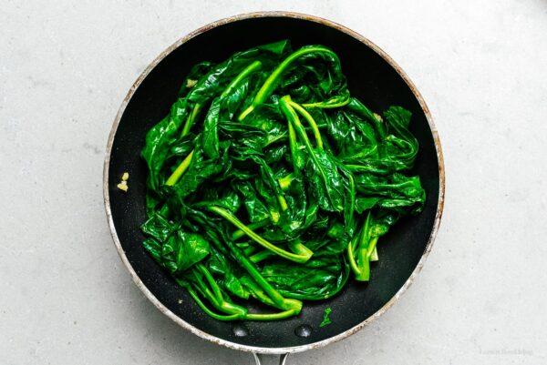 sauteing gai lan | www.iamafoodblog.com