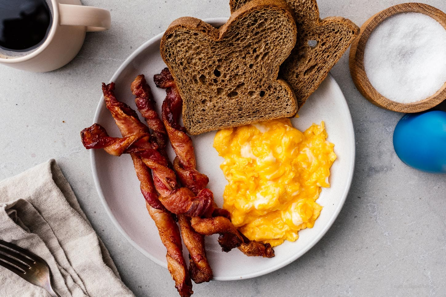 breakfast with twisted bacon |  www.iamafoodblog.com