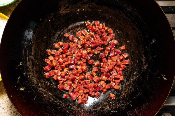 chinese sausage in a wok | www.iamafoodblog.com